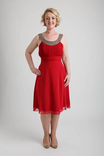Red Shimmering Tea Length Dress
