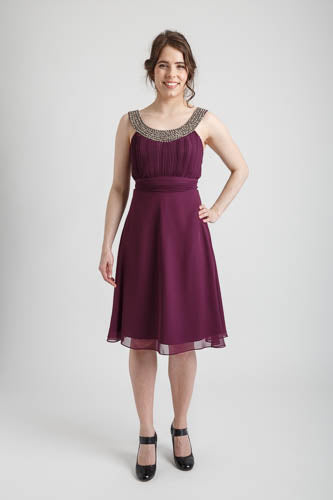 Plum Shimmering Tea Length Dress