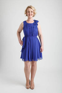 Royal Blue Pleated Short Dress with Floral Applique and Sash