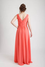 Coral V-neck Shirred Waist Long Dress