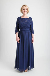 Navy 3/4 Sleeve Lace Long Dress (size 16)