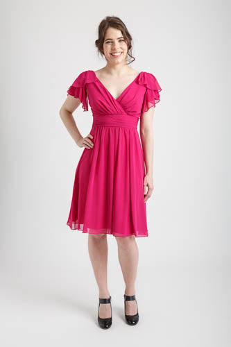 Magenta Wrap Style Dress with Ruffled Sleeves