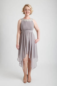 Gray Round Neck Hi-low Dress (size 10)