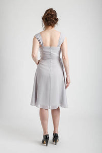 Gray Cowl Neck Knee Length Dress (size Small)