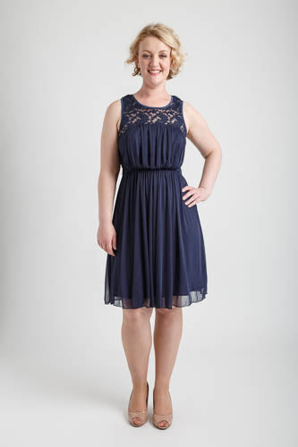 Navy Round Neck Dress with Lace (size S)
