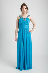 Dark Turquoise Empire Waistline with Embellished Neckline