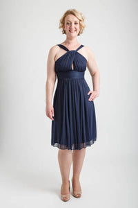Navy Halterneck Shirred Short Party Dress