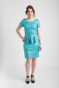 Aqua Mint Metallic Lace Peplum Short Dress