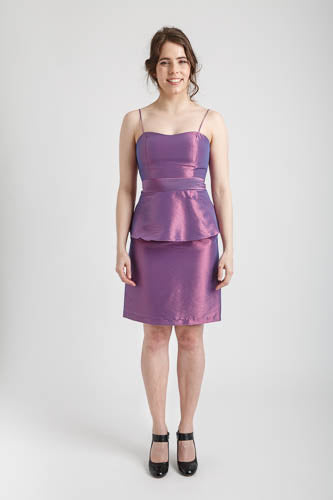 Dark Lilac Spaghetti Strapped Pencil Skirt Dress