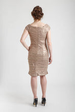 Taupe Cap Sleeve Sequinned Mesh Short Dress
