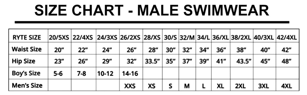 Size Chart - Male Swimwear