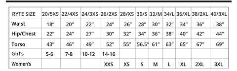 Womens Water Polo Size Chart