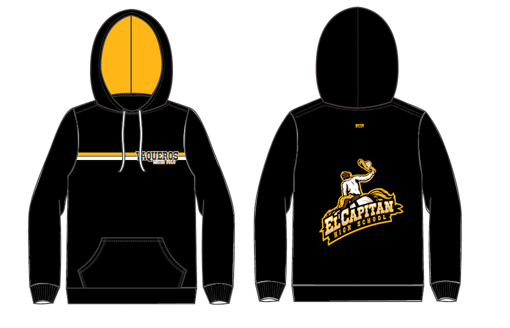 El Capitan High School Water Polo Team Black Adult Unisex Hooded Sweatshirt
