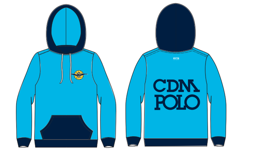 Corona Del Mar Boy's Water Polo Light Blue Unisex Adult Hooded Sweatshirt