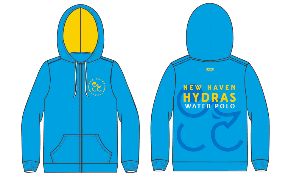 New Haven Water Polo Club Custom Unisex Zip Up Hooded Sweatshirt