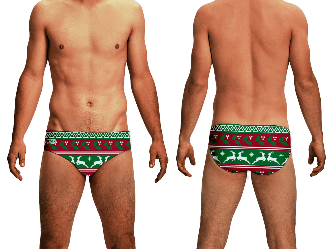 Holly & Deer Holiday Men's Swim & Water Polo Brief