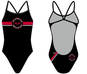 Olympic Club Triathlon Team Custom Women's Open Back Thin Strap Swimsuit