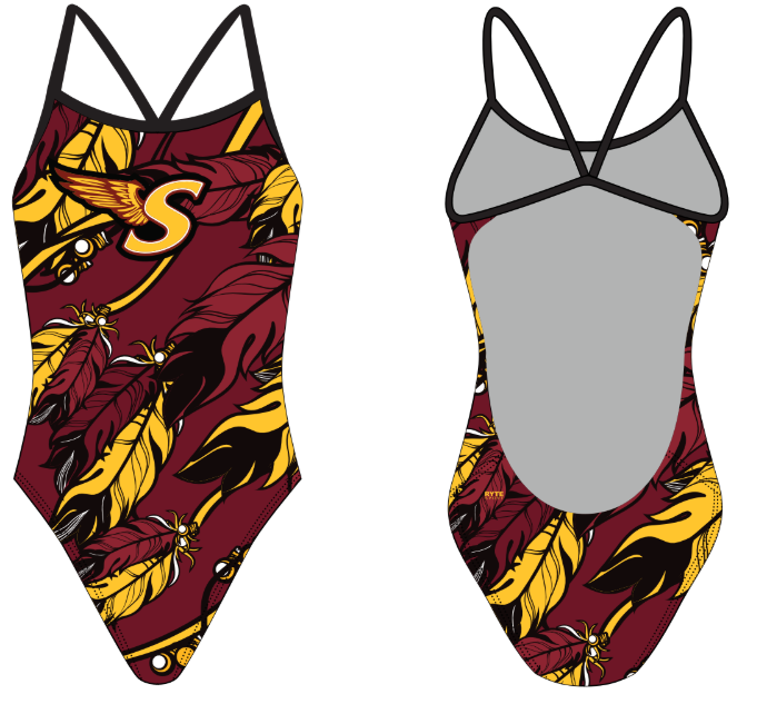 Sharon High School Swim Team Custom Women's Open Back Thin Strap Swimsuit