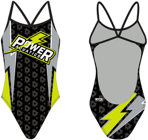 Power Aquatics Custom Women's Open Back Thin Strap Swimsuit
