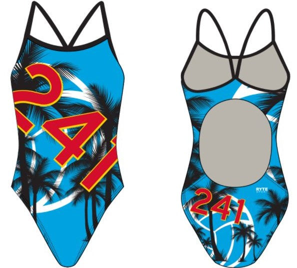241 Water Polo Club Women's Active Back Thin Strap Swimsuit