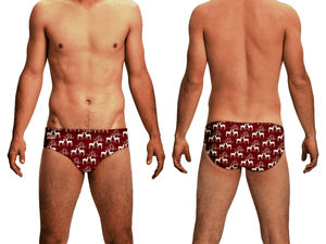 Kissing Deer Holiday Men's Swim & Water Polo Brief