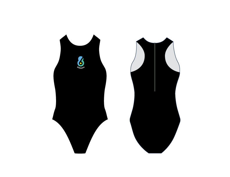 6-8 Sports Athlete Black Women's Water Polo Suit