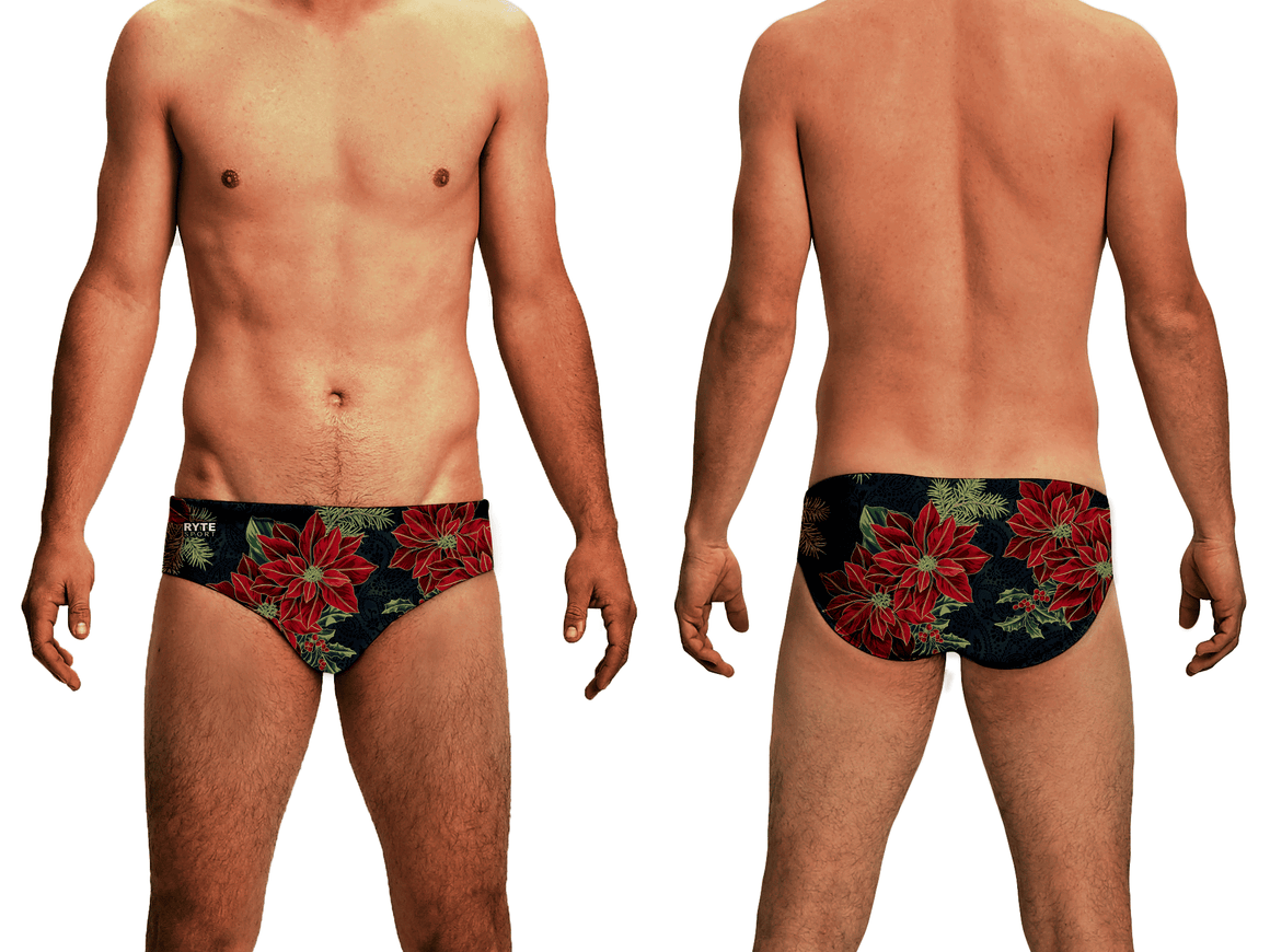 Holiday Poinsettia Men's Swim and Water Polo Brief