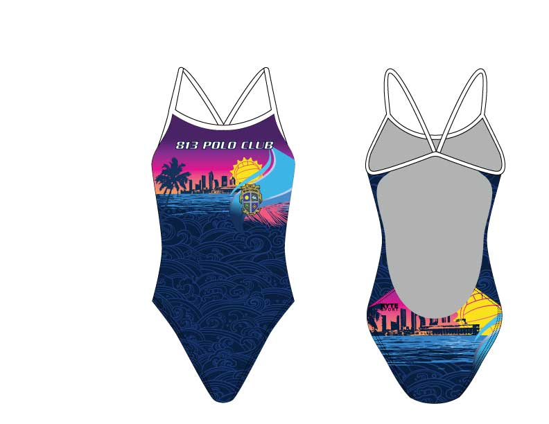 813 Polo Club Custom Women's Cut Out Thin Strap Swimsuit
