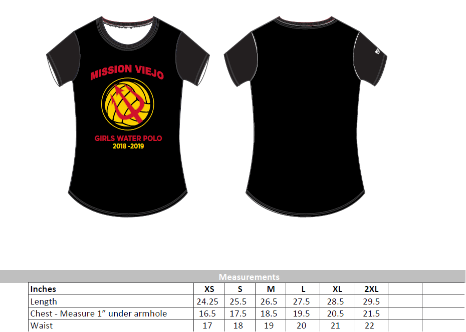 Mission Viejo High School Girls Water Polo Women's T-Shirt