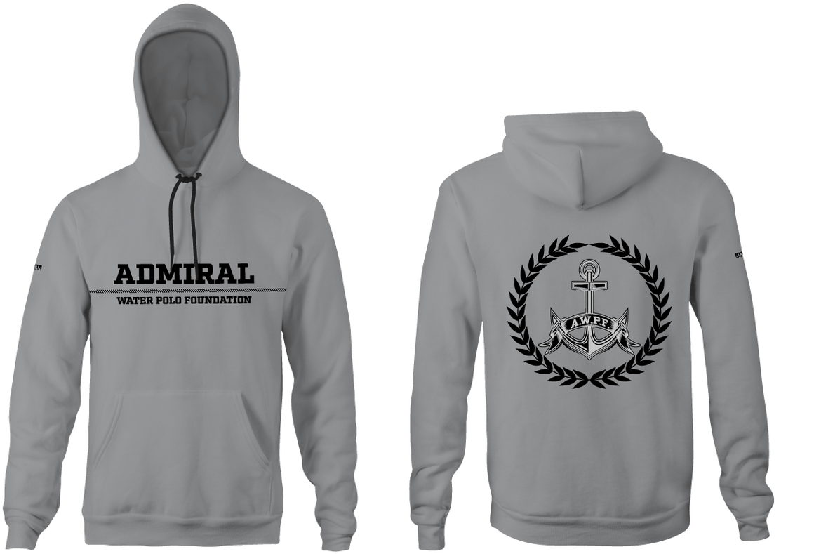 Admiral Water Polo Foundation 2019 Heathered Grey Unisex Adult Hooded Sweatshirt - Personalized