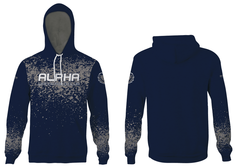 Alpha Water Polo Club Custom Navy Unisex Adult Hooded Sweatshirt