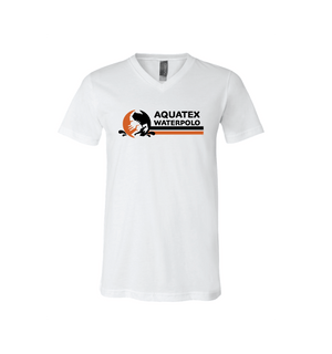 Aquatex Water Polo Custom White Unisex Jersey Short Sleeve V-Neck Tee