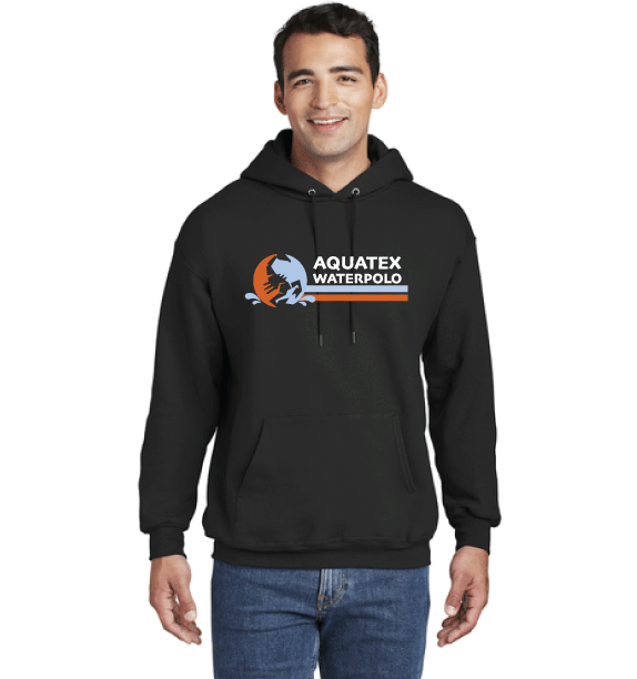 Aquatex Water Polo Custom Black  Hooded Sweatshirt