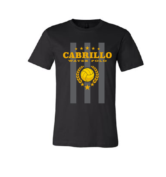 Cabrillo High School Water Polo 2019 Custom Men's Black Striped T-Shirt