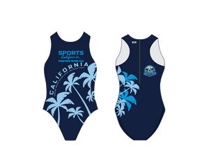 6-8 Sports California Spring Break Training 2020 Custom Women's Water Polo Suit