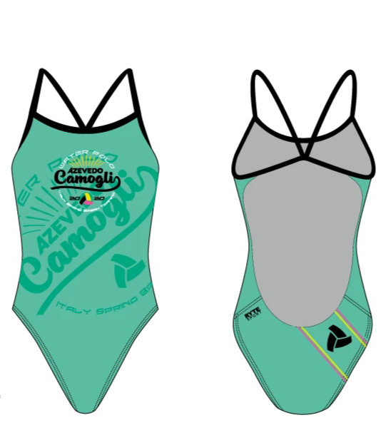 Azevedo Camogli 2020 Training Camp Green Women's Open Back Thin Strap Swimsuit
