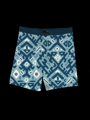 Ikat (Dark Blue) Men's Boardshort