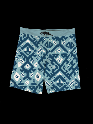 Ikat (Light Blue) Men's Boardshort