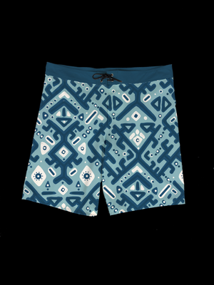 Ikat (Medium Blue) Men's Boardshort