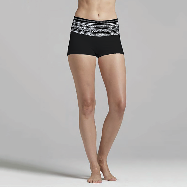 Tribal Black & White Black Yoga Short
