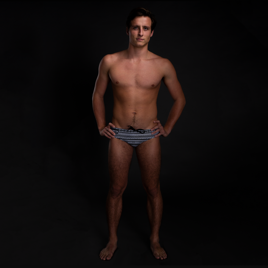 Tribal Black & White Full Print Men's Swim & Water Polo Brief