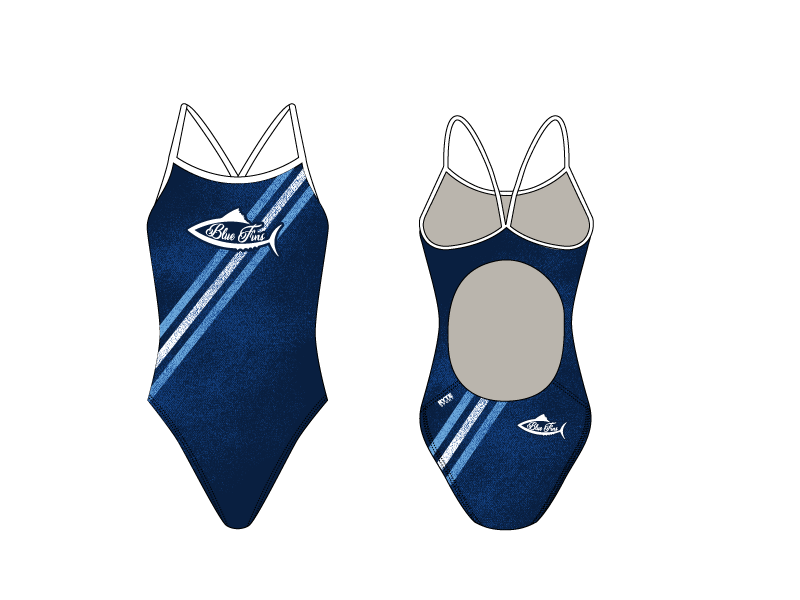 Blue Fins Swim Team 2019 Custom Women's Active Back Thin Strap Swimsuit
