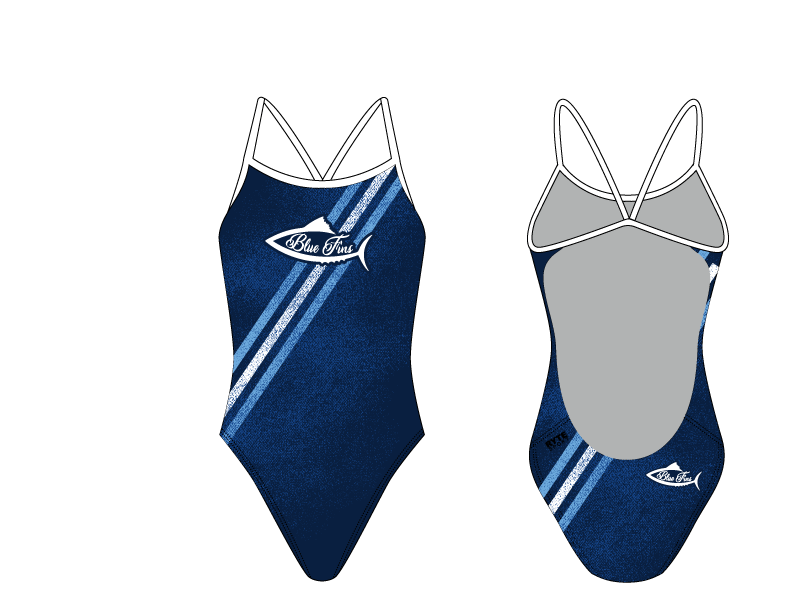 Blue Fins Swim Team 2019 Custom Women's Open Back Thin Strap Swimsuit