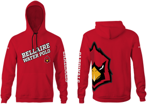 Bellaire Water Polo Custom Red Unisex Adult Hooded Sweatshirt - Personalized