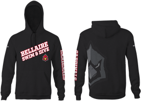 Bellaire Swim and Dive Custom Black Unisex Adult Hooded Sweatshirt - Personalized