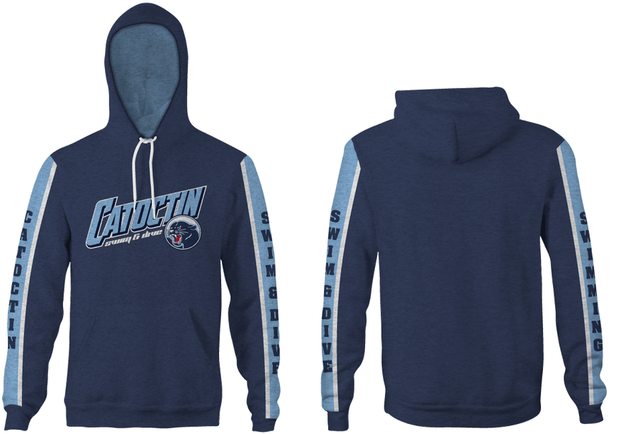 Catoctin High School Swim & Dive 2019 Custom Heathered Navy Unisex Adult Hooded Sweatshirt - Personalized