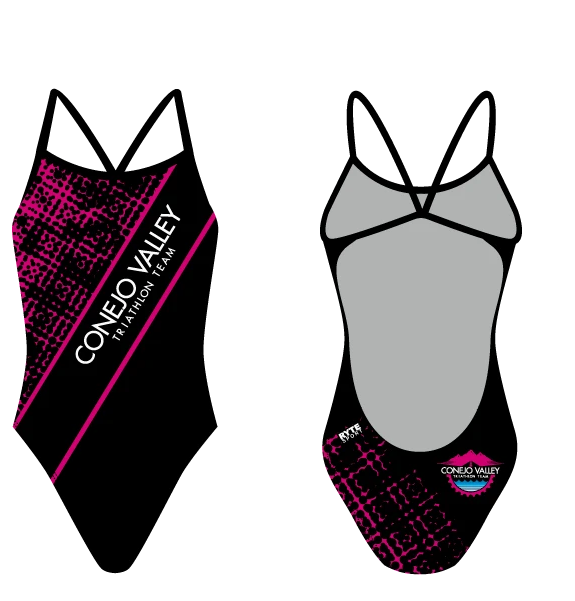 Conejo Valley Triathlon Team 2020 Custom Women's Open Back Thin Strap Swimsuit