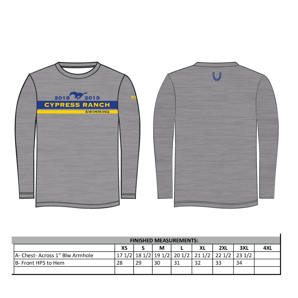 Cypress Ranch High School Swim Team Adult Unisex Longsleeve Jersey