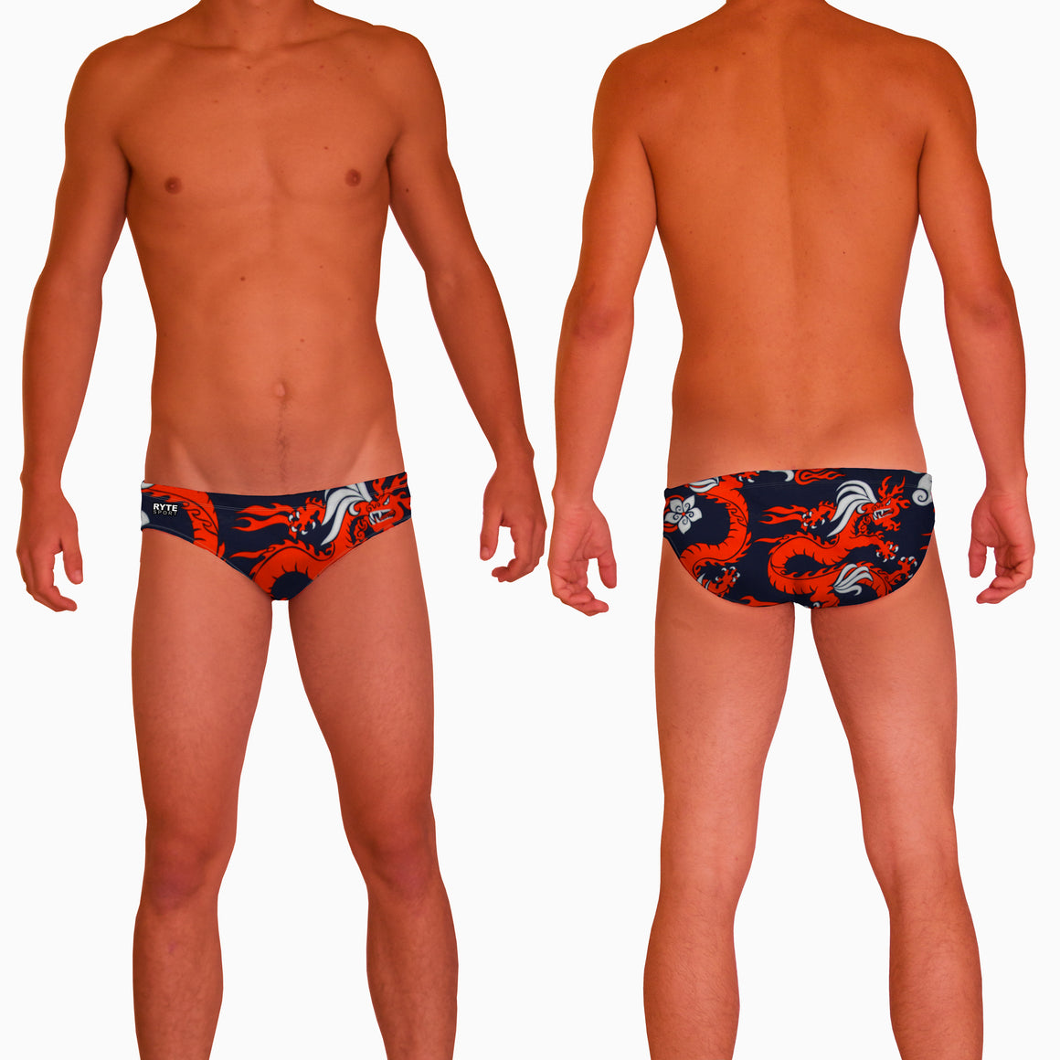 Red Dragon Mens Water Polo Suit  Features:  Compression Fitting PBT/Polyester Blend Fabric with Four-way stretch technology Dual Layer Lined Brief Low Stretch Flat Drawcord Flatlock Stitch Construction prevents chafe Turned In Liner Seams for Optimum Comfort Chlorine Resistant Fabric