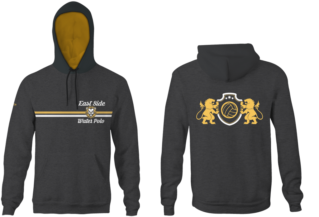 East Side Water Polo 2019 Custom Heathered Charcoal Unisex Adult Hooded Sweatshirt